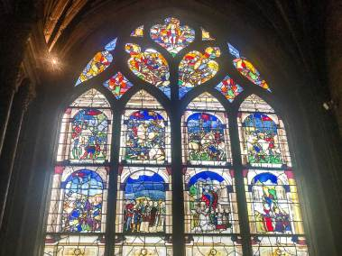 The cathedrall has retained its 15th century stained glass windows.