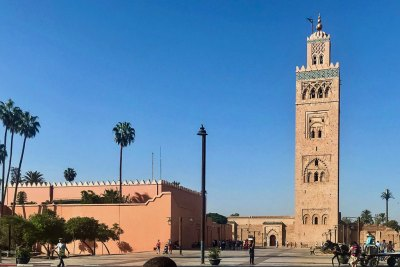 The Koutoubia Mosque  dominates the skyline of the city.