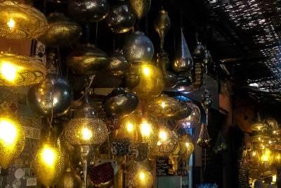 Lantern stalls add sparkle to the Souks.