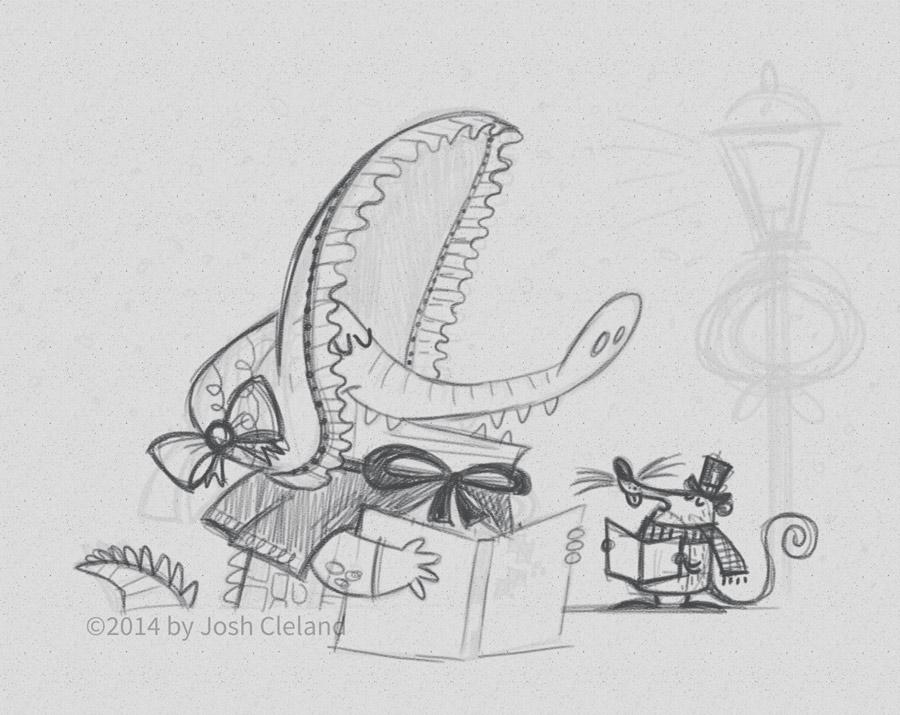 2014-christmas-card-carolers-sketch-josh-cleland