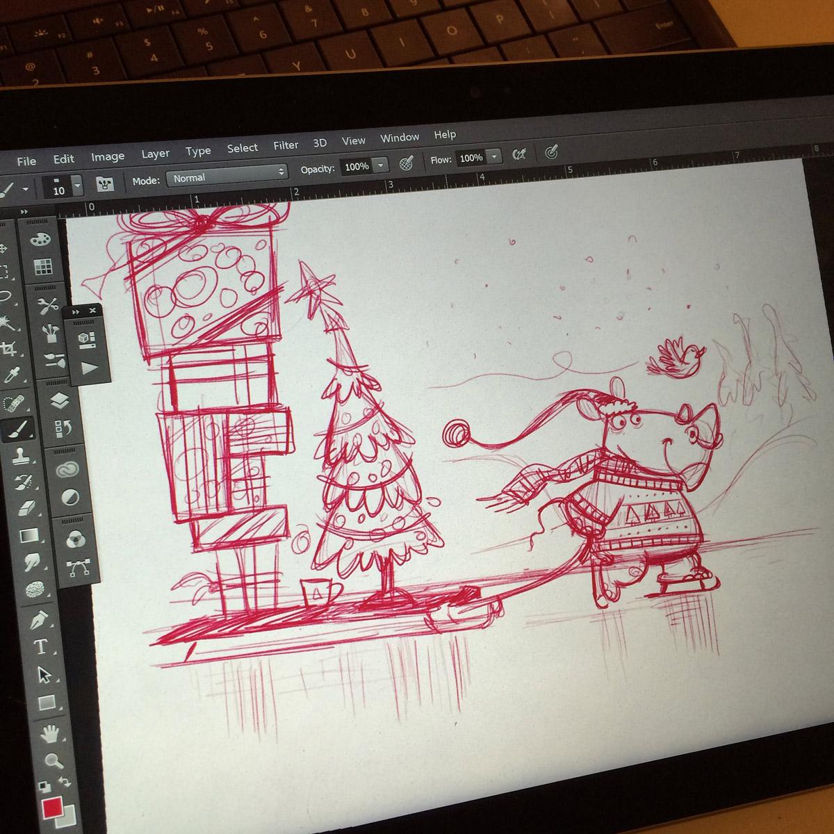 Christmas Skating Rhino Sketch