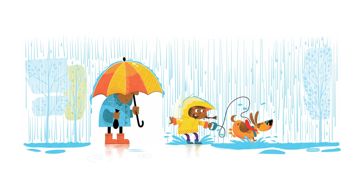 Playing in the rain art print
