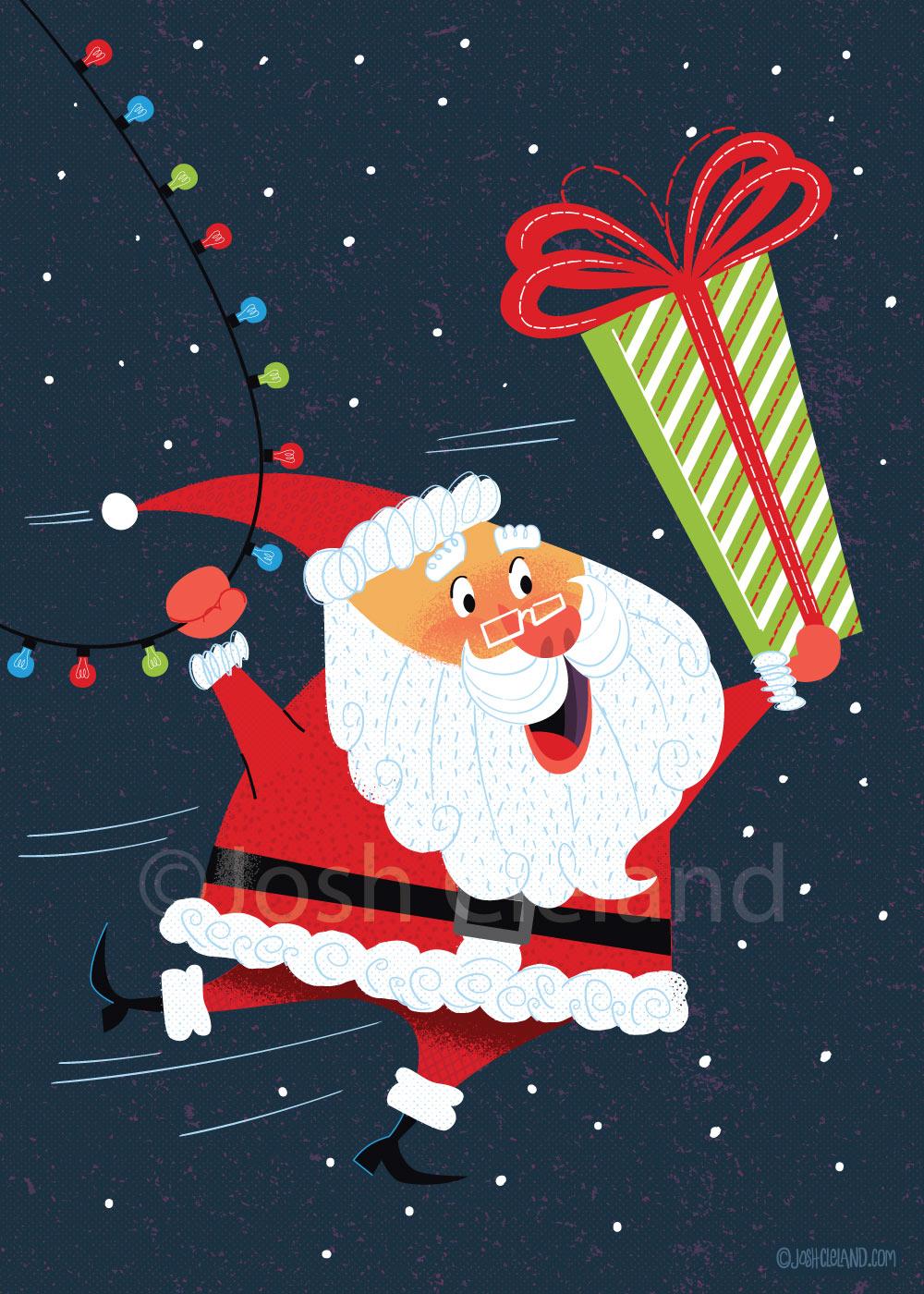 Santa swinging on Christmas lights 1