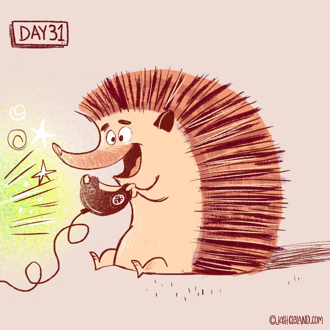 Land of Cle week 5 hedgehog illustration by Josh Cleland