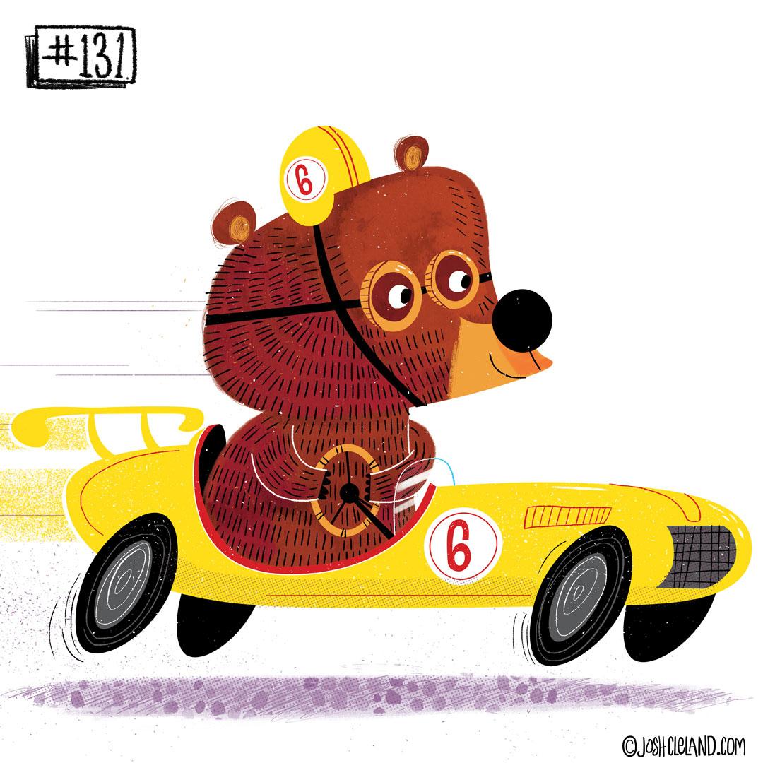 LAND of CLE by illustrator Josh Cleland bear driving race car illustration