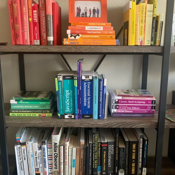 Bookshelves organized by color