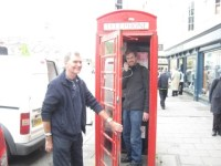 "Uncle Raymond holds the door while I pretend to call someone from a ""red telephone box"""