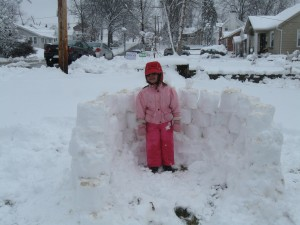 Early stages of the snow fort.