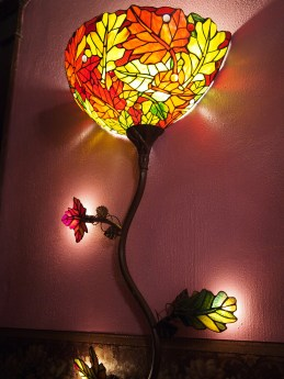 Cool light fixture at The Parlor Bed and Breakfast.