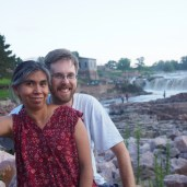 Yoli and Josh at Falls Park in Sioux Falls, S.D., at the end of our first day of driving.