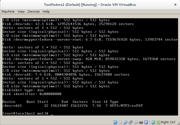 fdisk virtual machine