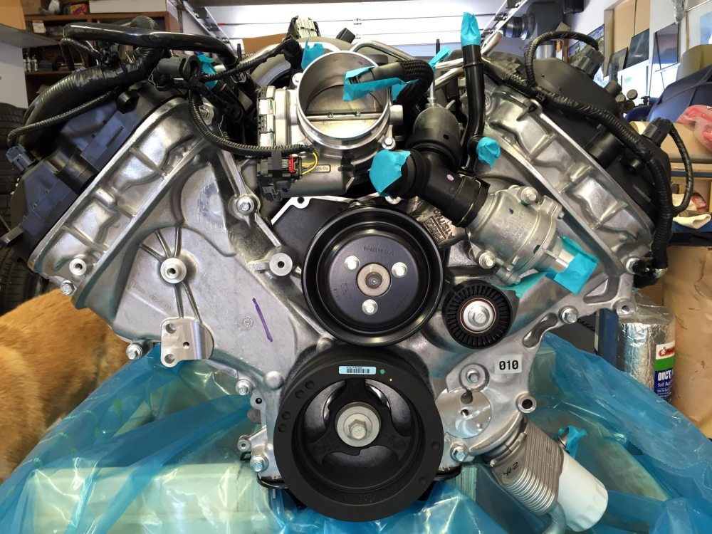 medium resolution of i ordered a march performance ford 5 0 late model coyote kit 30555 08 it s black powder coated with air conditioning power steering and includes the ford