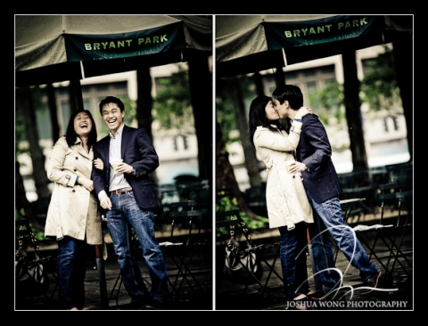 Surprise Marriage Proposal at Bryant Park, New York City. Engagement and proposal pictures by NYC Proposal and wedding photographer Josh Wong.
