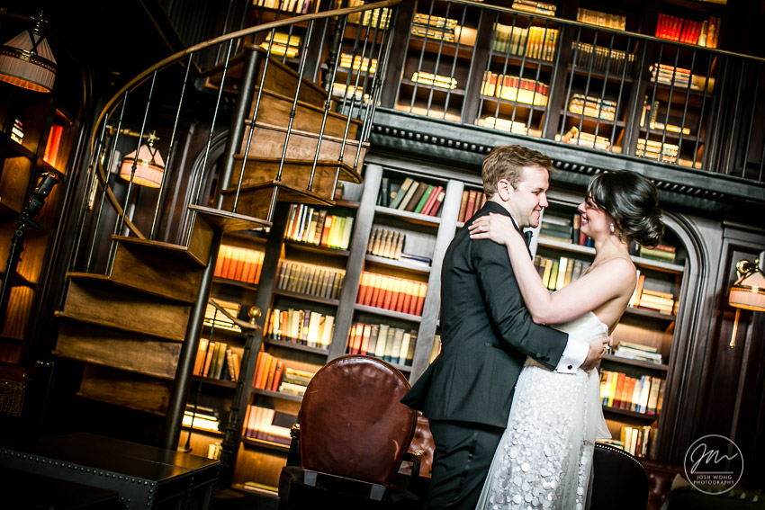 The library room at the NoMad Hotel. The first look.The NoMad Hotel New York wedding pictures by Josh Wong Photography.