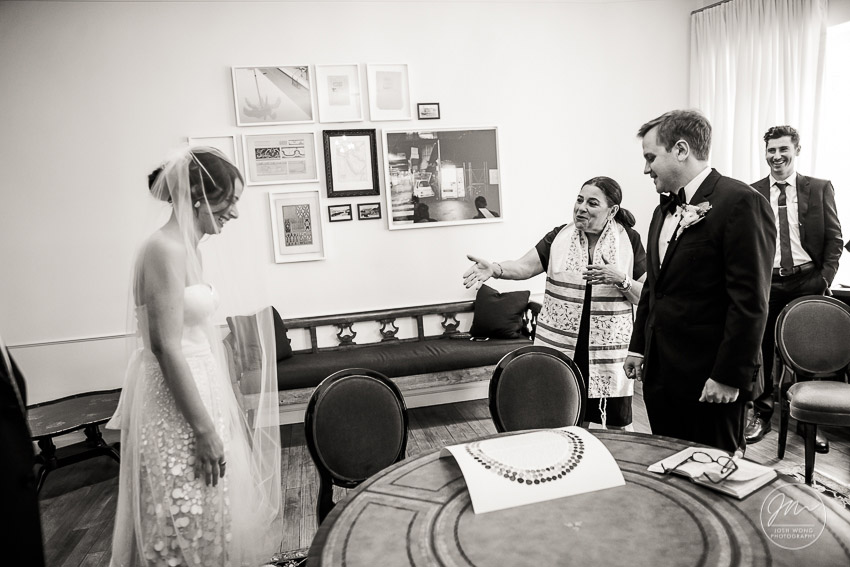The Ketubah signing in the bridal suite at the NoMad Hotel. NoMad Hotel Wedding Photographer Josh Wong.
