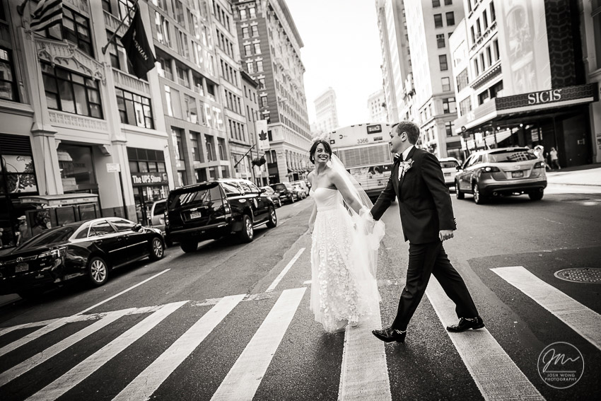 Walking the streets on New York City. NYC Wedding Photography by Josh Wong Photography