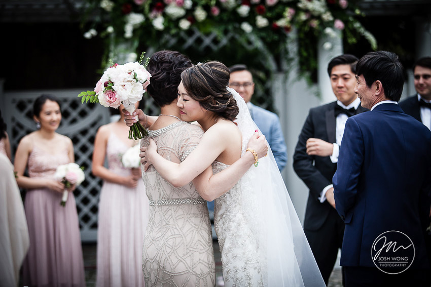 In the moment. Mother of the bride share an embracing moment.  New York Botanical Garden Wedding Pictures by NYC Wedding Photographer Josh Wong Photography