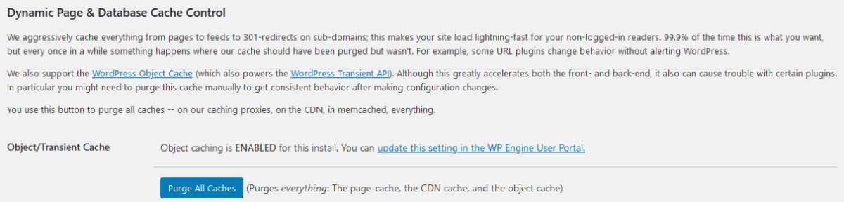 WPEngine Cache Control WordPress Admin