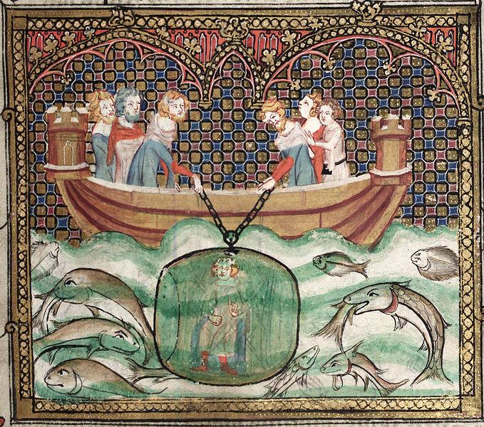 Alejandro descendiendo en un artefacto submarino. Miniatura del Roman d'Alexandre, Oxford, Bodleian Library.