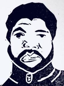 A relief print of Jotham Austin, II's face.