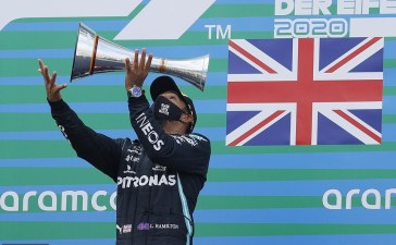 Lewis Hamilton puts up an astonishing play as he claims victory at the Eifel Grand Prix in Germany.