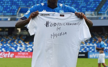 Nigerian and Napoli playmaker Victor Osimhen seen raising a shirt with the inscription #EndPolicebrutality after scoring a goal for Napoli.