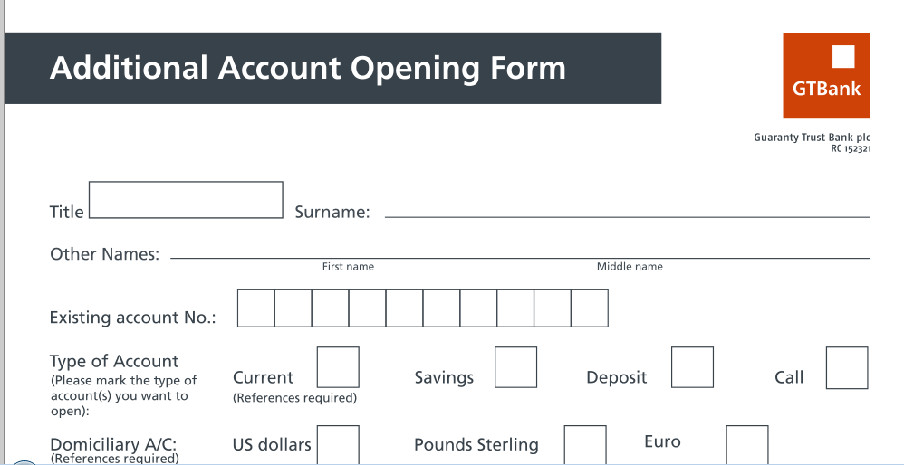 GTBank Domiciliary account Opening For Individual account