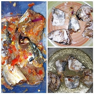 Fish, well seasoned, coated with flour and in a frying process