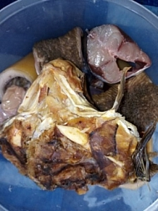 stockfish head and assorted meat