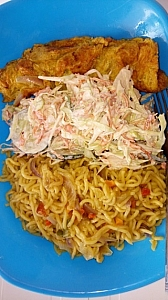 Coleslaw can also be served as a side dish with noodles and scrammbled egg or with any other food.