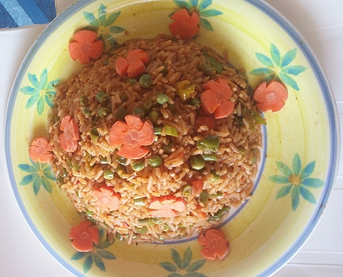 mixed vegetable jollof rice is ready!