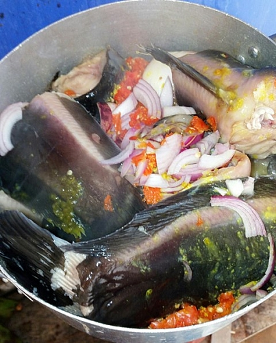 After seasoning catfish, leave it to absorb all the seasonings before cooking it
