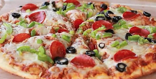 Pizza made with fresh ingredients