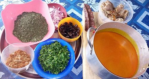 Ingredients for making Abak atama soup