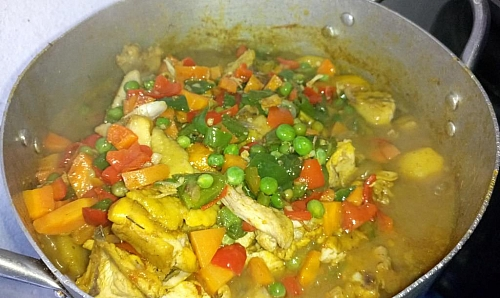 After adding the vegetable into the potato, stir it well to incorporate