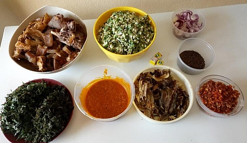 Igredients for making ogbono and okra soup