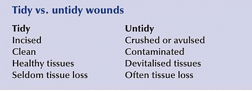 Types of Wounds based on their degree of contamination and their characteristics