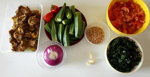 Ingredients for making okra stew