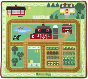 tapis de jeu ferme tracteur et remorque cheval vache cochon 39 5x35 5 melissa doug 9425