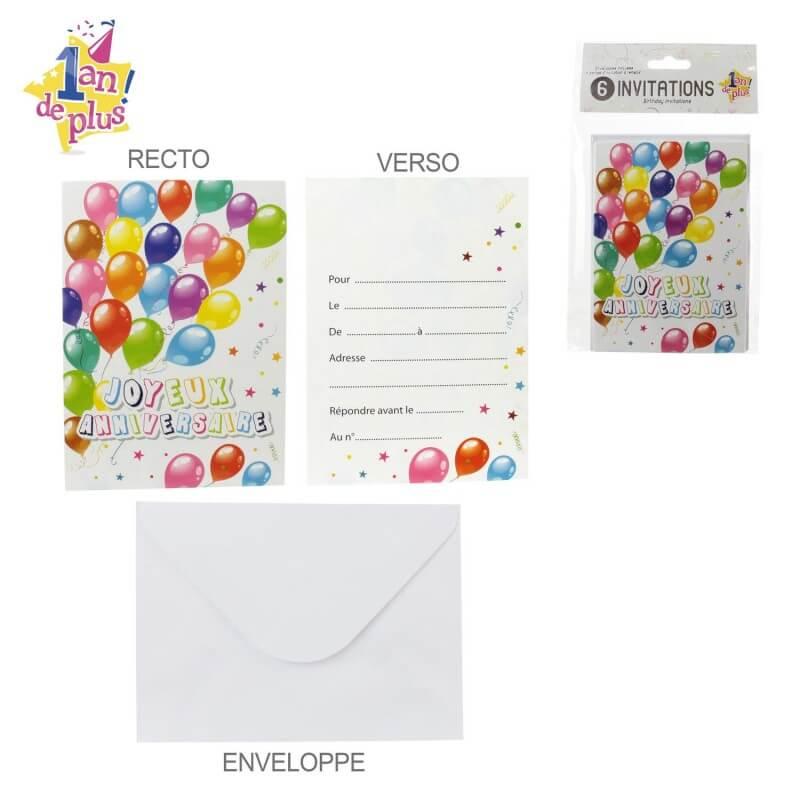 6 cartes d invitation special anniversaire version ballon