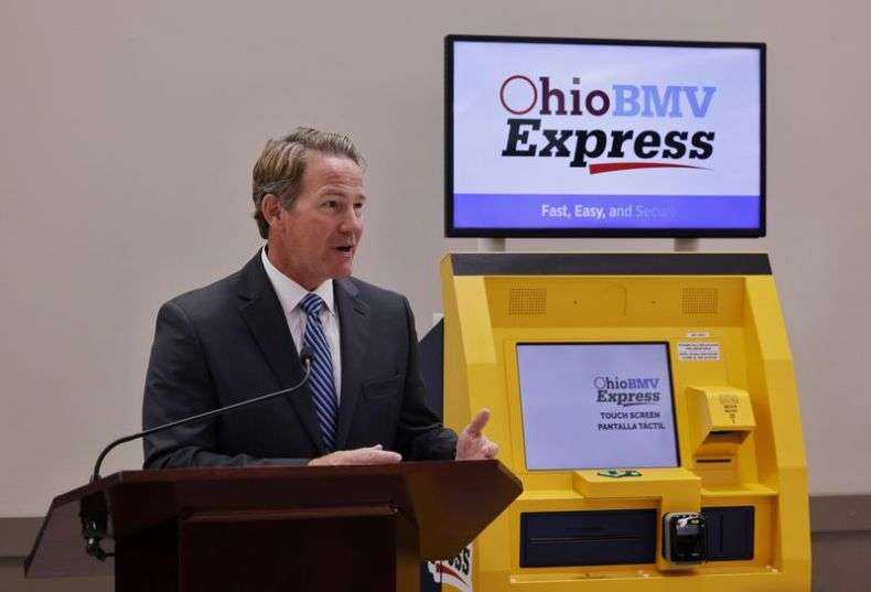 Ohio Lt. Governor Jon Husted, Director of InnovateOhio, announce the new BMV self-service kiosks located throughout the state during a press conference Wednesday, Oct. 13, 2021 at Meijer in Fairfield. There are nine kiosks throughout the state where Ohio Bureau of Motor Vehicles customers can renew registration stickers and more. NICK GRAHAM / STAFF