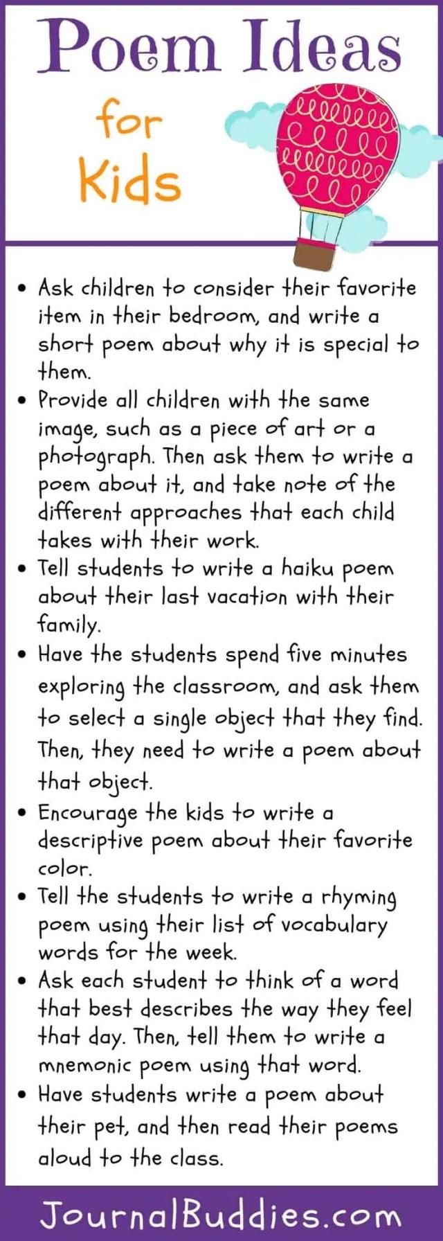 Poem Ideas for Kids • JournalBuddies.com
