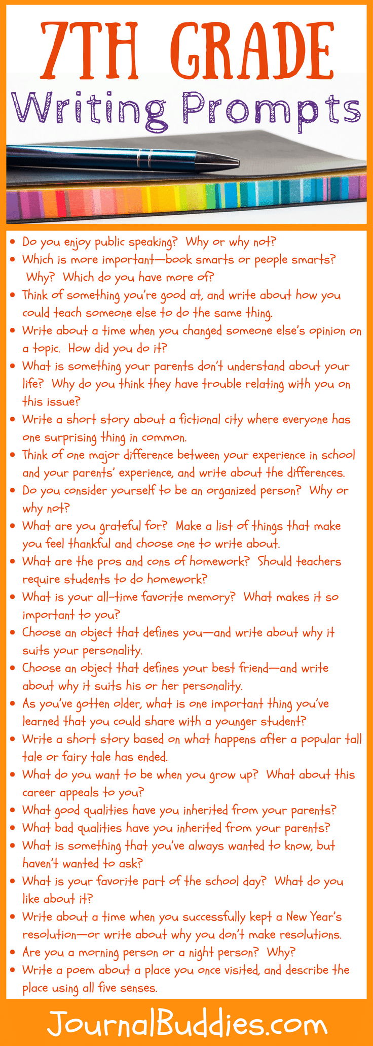 hight resolution of 7th Grade Writing Prompts: 32 New Ideas • JournalBuddies.com