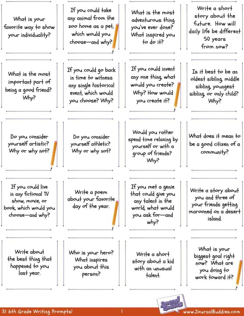 hight resolution of Writing Worksheets for 6th Grade • JournalBuddies.com