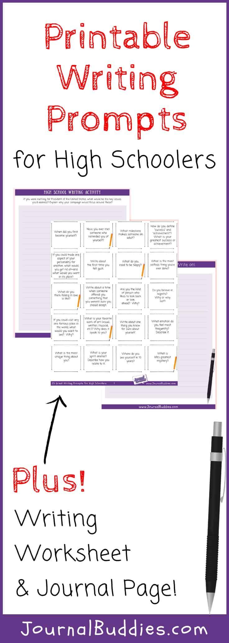 hight resolution of High School Writing Worksheets • JournalBuddies.com