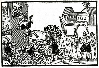 La défenestration de Prague de 1618 fut l'une des causes de la guerre de trente ans. Trois catholiques furent jetés par une fenêtre par des protestants