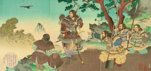 Jimmu guidé par le corbeau Yatagarasu lors de la Conquête de l'Est