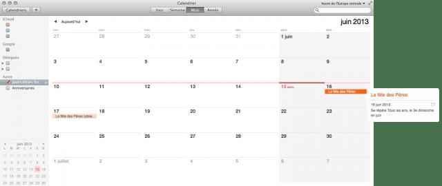 Mavericks : un calendrier des jours fériés dans iCloud