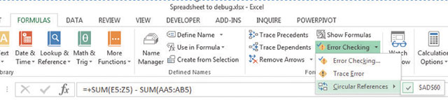 How to debug Excel spreadsheets