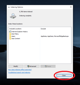 windows 10 more search indexer settings result